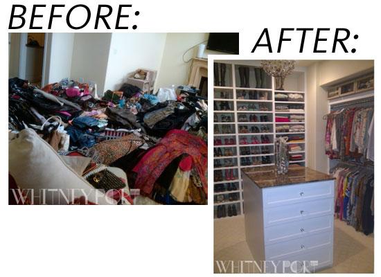 Whitney Port`s Garderob före och efterbild u2013 Walk in closet